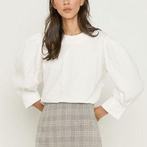 OAK + FORT // white puffed sleeve blouse